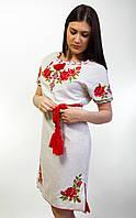 Вышитое женское платье лен короткий рукав, фото 1