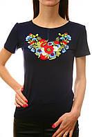 Вышитая женская футболка на синем трикотаже