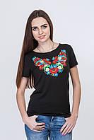 Черная вышитая женская футболка стрейч, фото 1