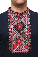 Вышитая мужская футболка с красным орнаментом, фото 1