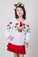 Вышиванка для девочки на белом батисте с красными маками , фото 1