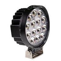 Фара LED кругла 42W, 14 ламп, широкий промінь 10/30V 6000K 3D лінза товщина: 48 мм