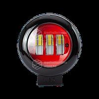 Фара LED круглая красная 30W, 3 лампы, 10/30V 6000K толщина: 65 мм