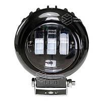 Фара LED кругла чорна 30W, 3 лампи, 10/30V 6000K товщина: 65 мм