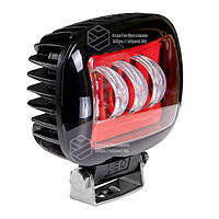Фара LED прямокутна червона 30W, 3 лампи, 10/30V 6000K товщина: 65 мм