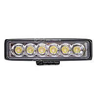 Фара LED прямокутна 18W, 6 ламп, 10/30V 6000K довжина: 150 мм, товщина: 43 мм