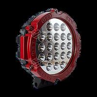 Фара LED кругла червона 63W, 21 лампа, 10/30V 6000K товщина: 60 мм