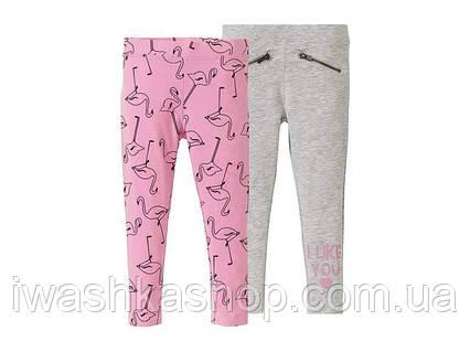 Комплектом трикотажные облегающие штаны, треггинсы с фламинго на девочек 2 - 4 года, р. 98 / 104, Lupilu