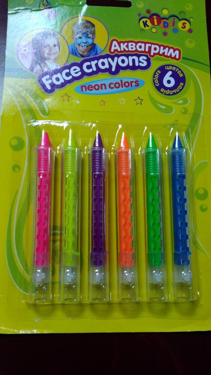 Краски аква грим, карандаши 6цветов №7765