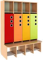 Шкаф для раздевалки, со стационарной лавочкой, полузакрытый из серии «Мыльные пузыри» MINI