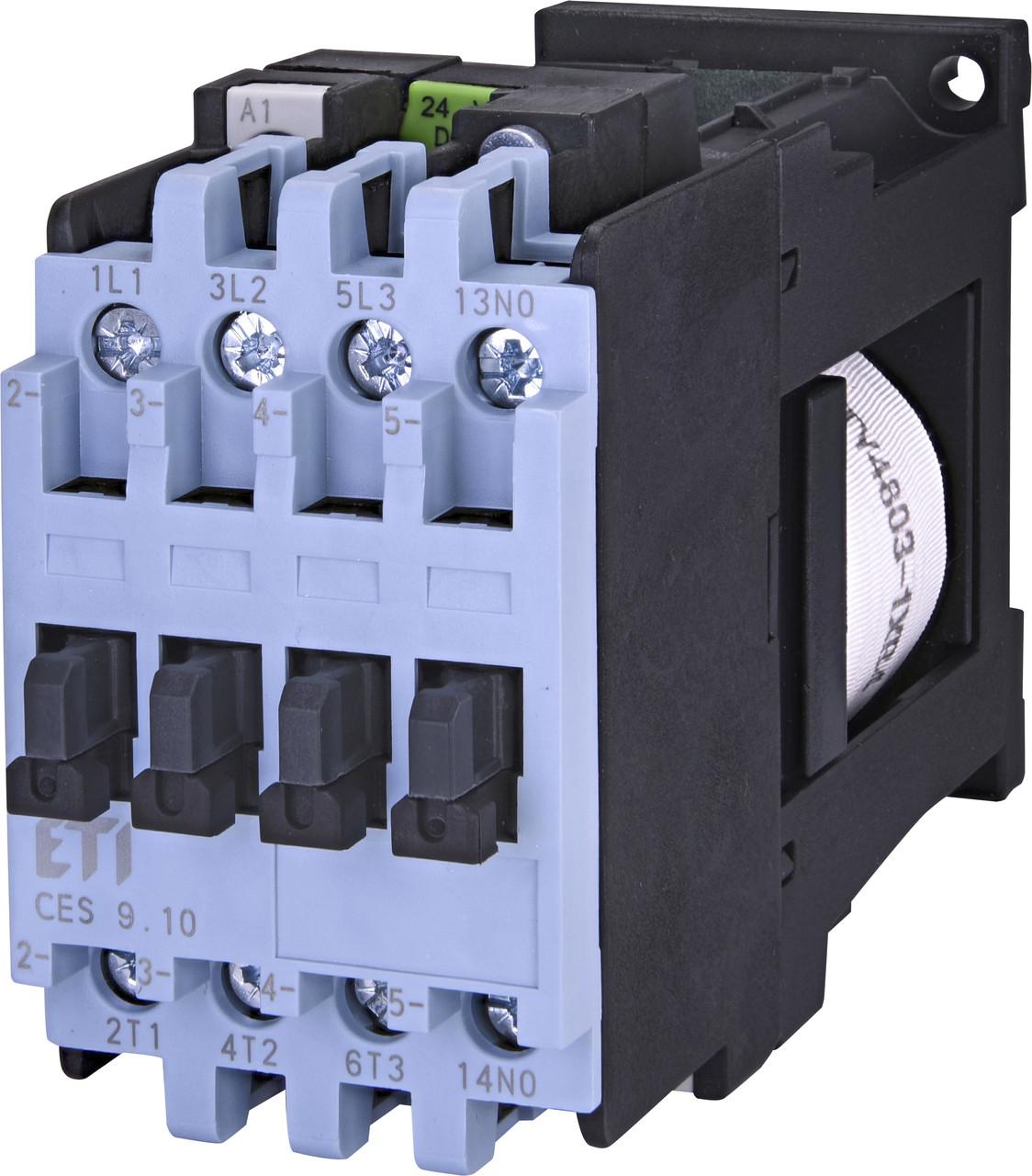 Контактор силовой ETI CES 9.10 9А 24V DC 3NO+1NO 4kW 4646514 (на DIN-рейку, 25A AC1, 9A AC3)