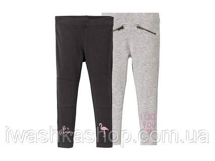 Трикотажные облегающие штаны, треггинсы с фламинго на девочек 1 - 2 года, р. 86 / 92, Lupilu