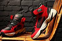 Мужские зимние термо кроссовки Nike M2K Tekno Winter Black Red / Найк М2К Текно черно-красные