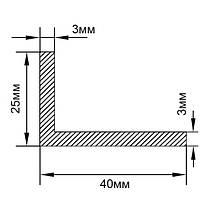 Алюминиевый уголок, без покрытия  40х25х3 мм