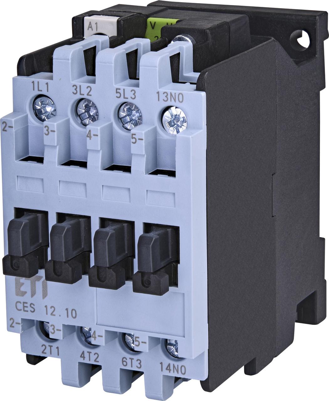 Контактор силовой ETI CES 12.10 12А 24V AC 3NO+1NO 5.5kW 4646520 (на DIN-рейку, 25A AC1, 12A AC3)