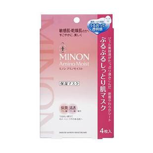 MINON Amino Moist Увлажняющая тканевая маска для лица с аминокислотами, 4 шт