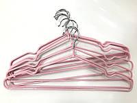 Вішалка з покриттям 10 шт розові, фото 1