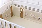 Бортики в кроватку (4 стороны) и сменка «Мишки на луне» ванильно-коричневого цвета (4-284), фото 4