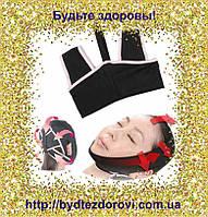 Тканинна пов'язка-бандаж для корекції овалу обличчя (друге підборіддя, щоки).