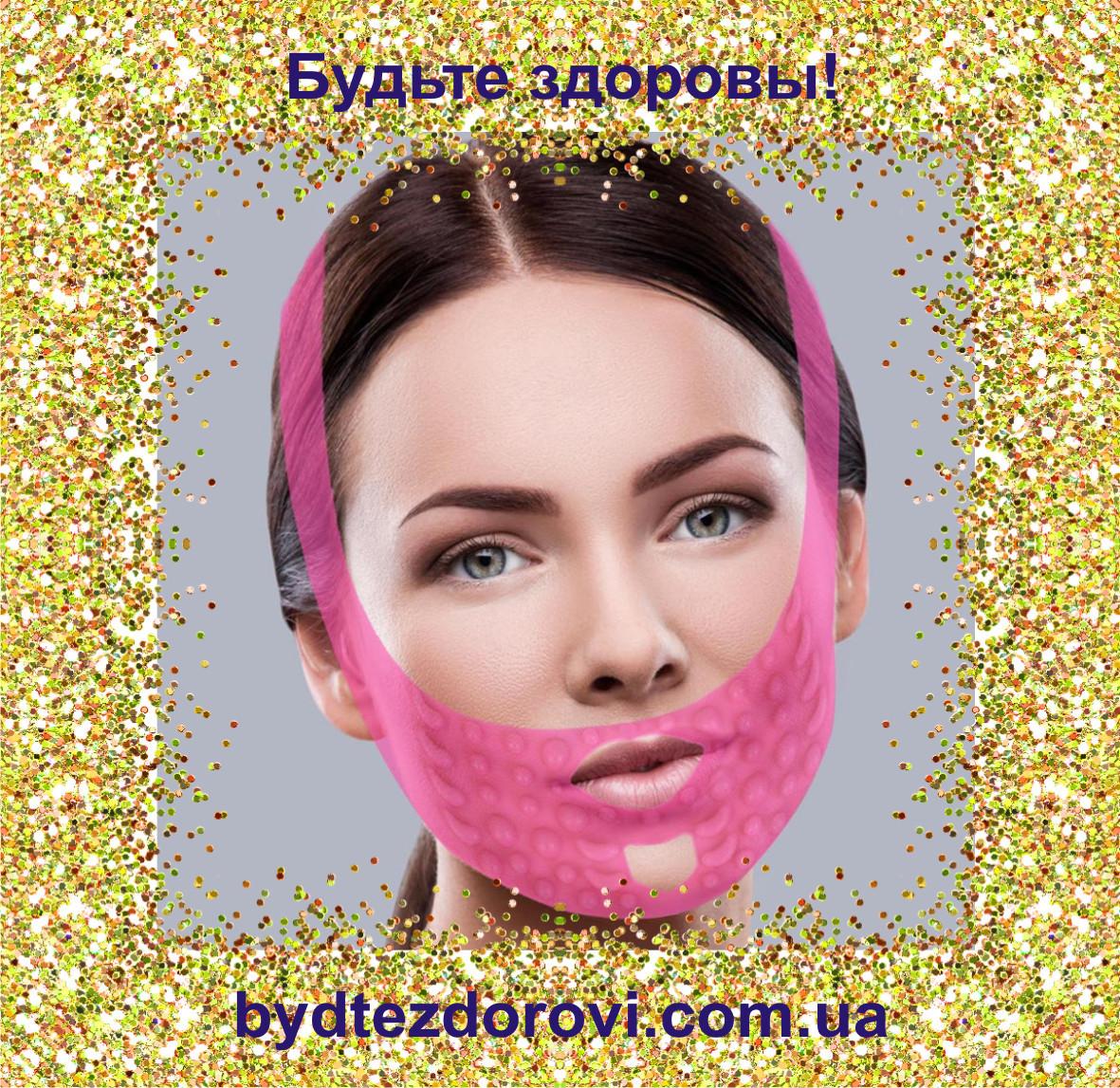 Массажная маска-бандаж для коррекции овала лица (подбородок, щеки).