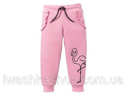 Теплые трикотажные штаны c оборками на девочек 1 - 2 года, р. 86 / 92, Lupilu