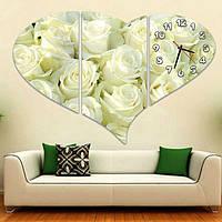 Стильные модульные часы картина 3 модуля, для гостиной ReD Белые розы 90х62 см