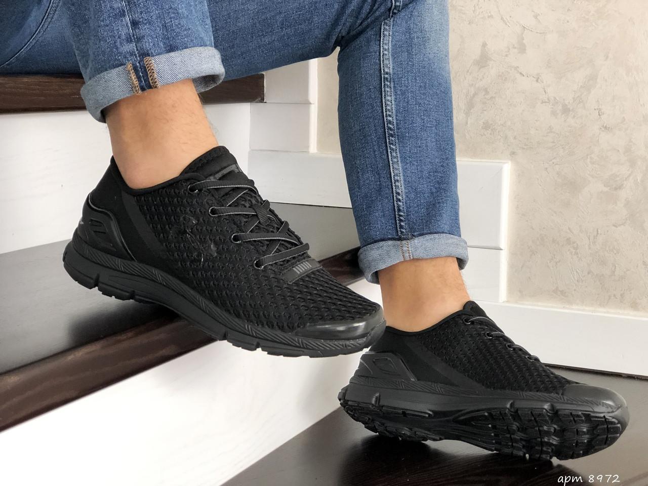 Мужские кроссовки сетка черные демисезонные 15\8972