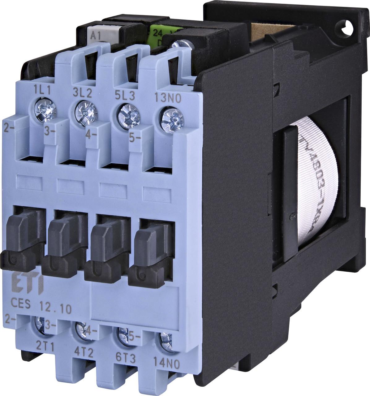 Контактор силовой ETI CES 12.10 12А 24V DC 3NO+1NO 5.5kW 4646524 (на DIN-рейку, 25A AC1, 12A AC3)
