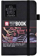 Блокнот Sakura Sketch, 140 г/м2, 9х14 см, 80 л, чорний папір, Sakura 94141001