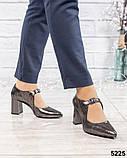Туфли женские с ремешком серебристые, фото 2
