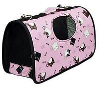 Сумка переноска для животных Коты розовая, фото 1