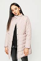 Стеганая демисезонная удлиненная светлая куртка