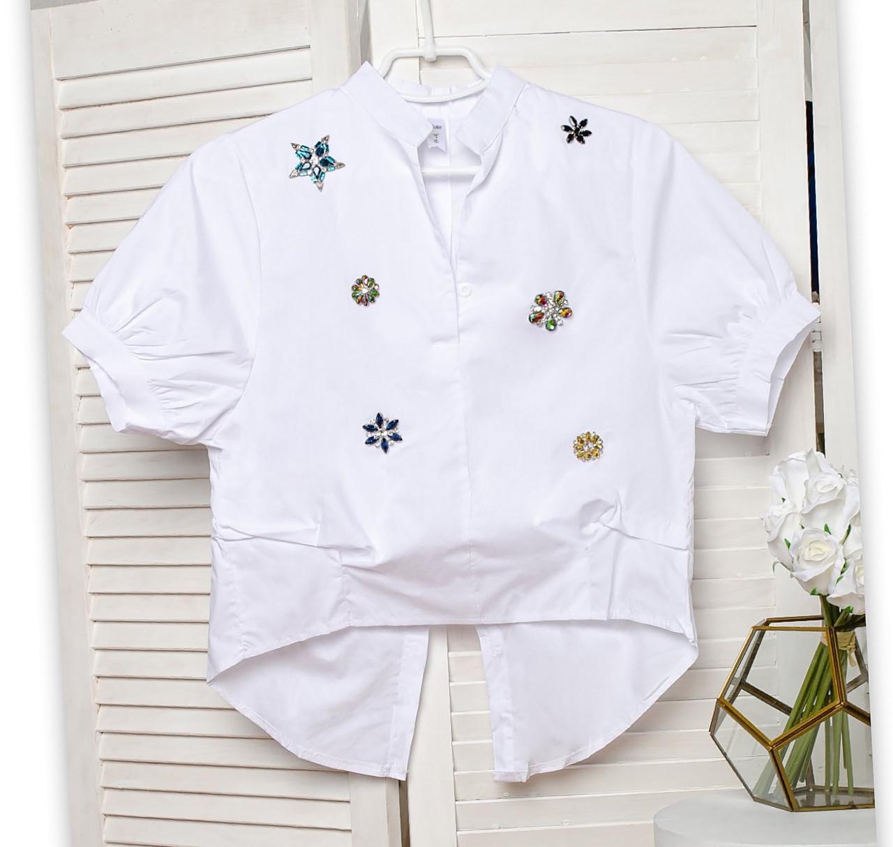 Белая женская рубашка с аппликациями (42-44)