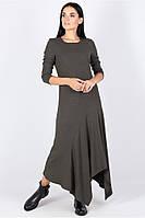 Платье с округлым вырезом полуприлегающего силуэта с рукавом длинное серого цвета