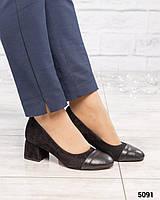 Туфли женские на среднем каблуке черные