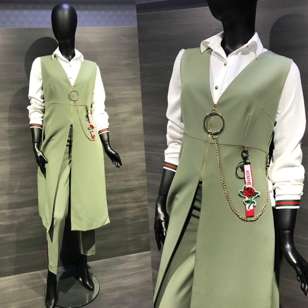 Костюм-трійка жіночий оливковий 1967-3