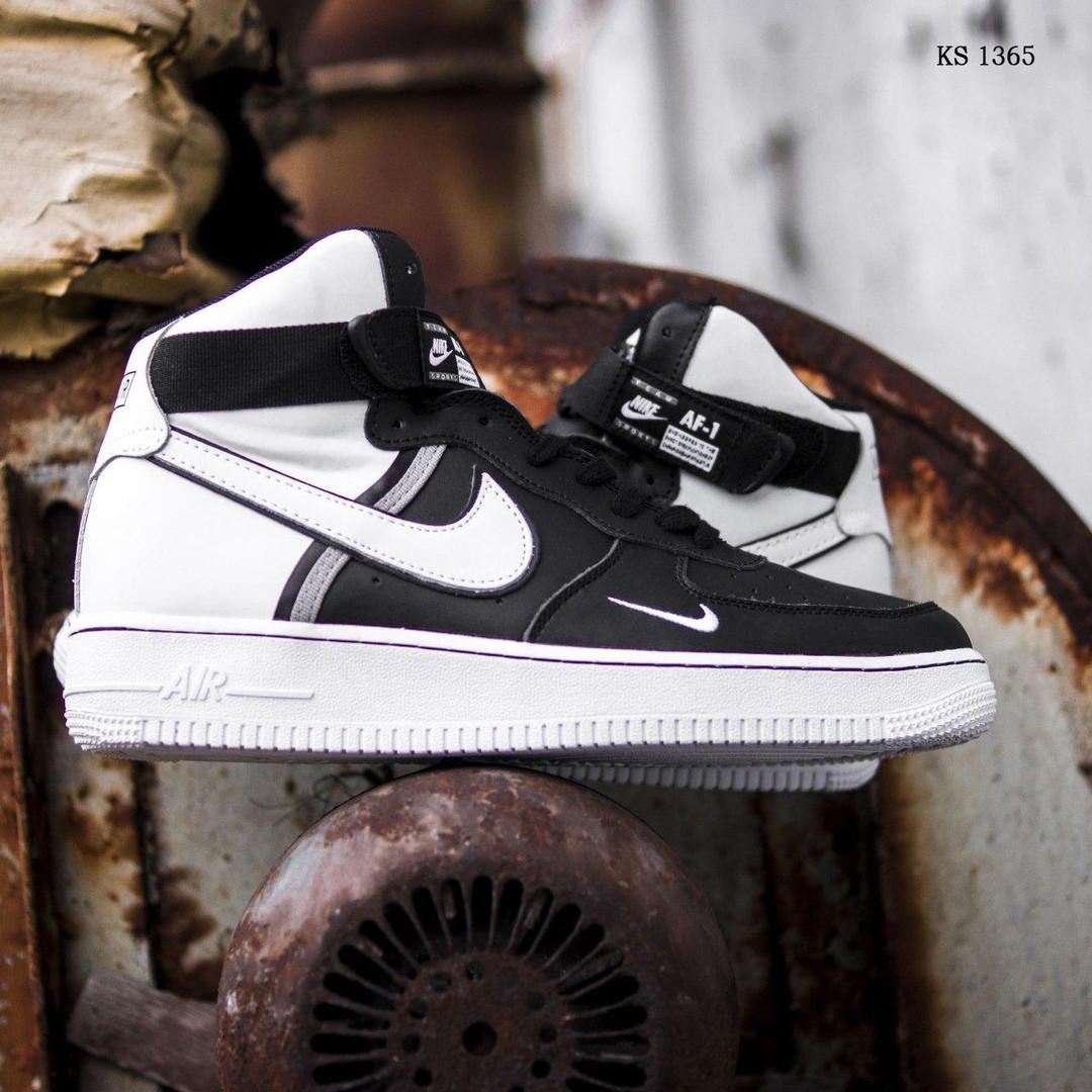 Мужские кроссовки Nike Air Force 1 07 Mid LV8 (бело-черные) 1365