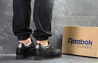 Мужские кроссовки черные классические весна осень прессованная кожа подошва пена 15\7235, фото 2