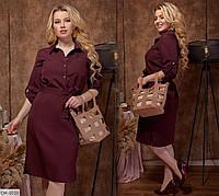 Батальное приталенное платье-рубашка Размер: 46-48, 50-52, 54-56 арт 422