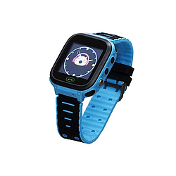 Детскиe часы-телефонс GPS, кнопкой SOS Smart WatchF4с фонариком голубые