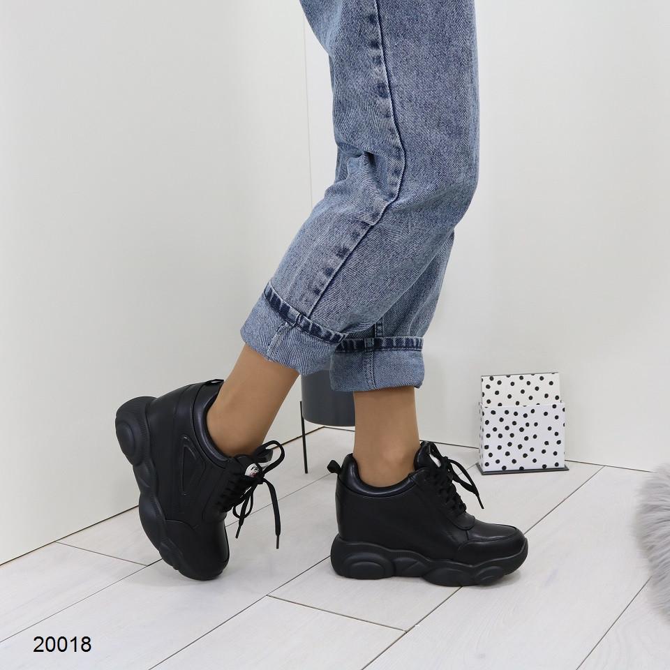 Женские кроссовки сникерсы на платформе и танкетке, А 20018