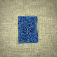 Обложка кожаная синяя для ID паспорта