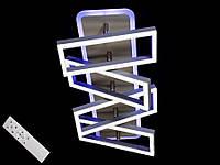 Светодиодная люстра с пультом-диммером и цветной подсветкой серая 11019-4, фото 1