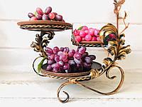 Кованая подставка с тарелками из красной глины 24*40*22 см, фото 1