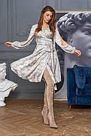 Красивое платье на запах шёлковое оливкового цвета 42/44