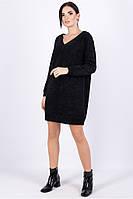 Платье свитер прямого силуэта выше колен с длинным рукавом черного цвета теплое