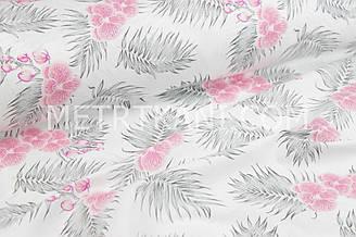 """Ткань хлопковая """"Цветы орхидеи и листья папороти"""" на белом фоне №1131"""