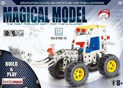 Конструктор металлический Стройка Трактор с ковшом 816B-10, 139 деталей