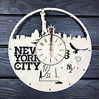 Часы настенные круглые из дерева «Нью-Йорк. Статуя Свободы», фото 1