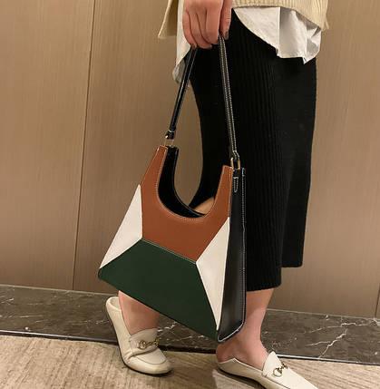 Модная сумка с замшевыми вставками и геометрическим дизайном, фото 2
